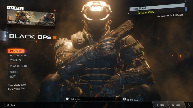 The main menu of Call of Duty: Black Ops III running on PC.
