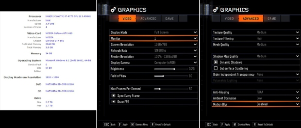 A side-by-side comparison of my computer specifications and current Call of Duty: Black Ops III graphics settings as optimized by NVIDIA GeForce Experience.