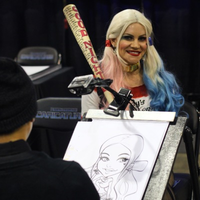 Sunni Sunshine (@fulloflove143) having a caricature done at the Fusion Designs booth at @amazingcomiccon on February 13.