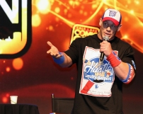 """""""Nowadays you kinda just get me, it's who I am,"""" John Cena said in response to how he differs from his WWE personality during his panel at Salt Lake Comic Con on September 2. Salt Lake Comic Con was held at the Salt Palace Arena in Salt Lake City from September 1 through 3. / Photo by Stephan Starnes"""