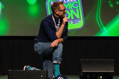 Salt Lake Comic Con MC Chris Provost showed his socks before a main stage panel at Salt Lake Comic Con on September 22, 2017. Salt Lake Comic Con was held from September 21-23.