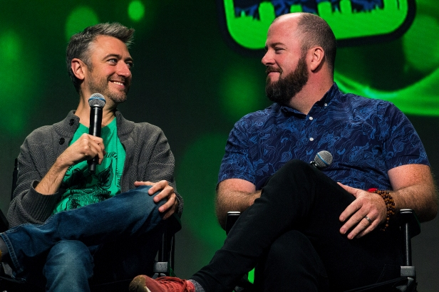 Actors Sean Gunn and Chris Sullivan appeared together for a Ravagers reunion panel to talk about their experiences filming Guardians of the Galaxy Vol. 2 at Salt Lake Comic Con on September 23, 2017. Salt Lake Comic Con was held from September 21-23.